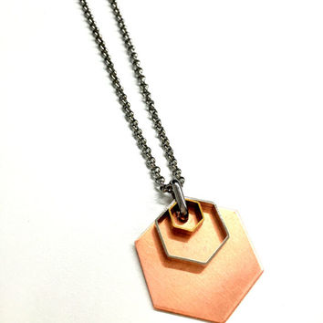 Mens Necklace w/ Hexagon Pendant. Mixed Metal Geometric Necklace. Stainless Steel Necklace Unisex Jewelry for Him and Her
