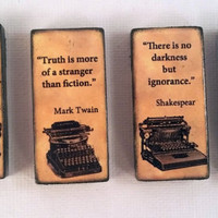 Literary Masters Great Works Quotes Book Lovers Refrigerator Fridge Ceramic Magnet Set Cummings, Twain, Shakespear, and Goethe