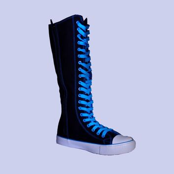 Womens Canvas Sneaker Punk Flat Tall Lace Mid Knee High Boot Skater Shoe