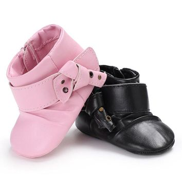 Kids Baby Girl Fashion Toddler Shoes Children Pink Black Booties Zipper Pu Leather Black Buckle Ankle Boot Shoes