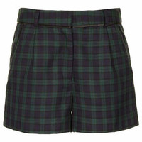 GREEN LIGHTWEIGHT CHECK SHORTS