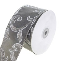 Joanne Glitter Scroll Wired Christmas Holiday Ribbon, Silver, 2-1/2-Inch, 20 Yards