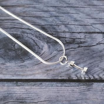 Tiny Sterling Silver Dumbbell Necklace
