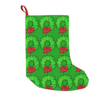 Cheerful Christmas Red Bow Green Wreath Small Christmas Stocking