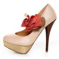 Diva Lounge Lorane 201 Nude Ruffle Color Block Platform Pumps - $29.00