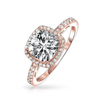 3CT Cushion Cut CZ Engagement Ring Rose Plated Sterling Silver