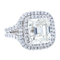 Exquisite 5.02 Carat Square Emerald Cut Diamond Ring