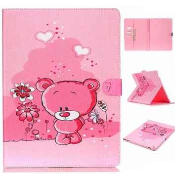 Cute Pink Bear PU Leather creative case Wallet for iPad Pro 12.9