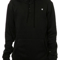 Zunked Hooded Henley Sweatshirt in Black