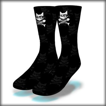 Cat Pirate Crew Socks Novelty Streetwear