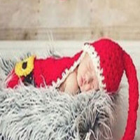 Santa Knit Hat Outfit Set Christmas Newborn Photo Prop - CCA59