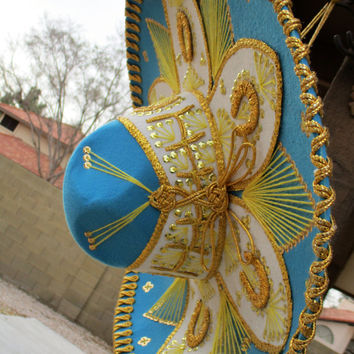 Vintage Large Blue Yellow Gold Sombrero Mexican Mariachi Hat Sequin Thread Horseshoes