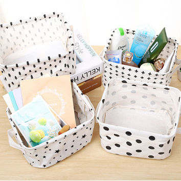 Cotton Linen Desktop Storage Basket Sundries Storage Box with Handle Cosmetic Organizer Jewelry Stationery Container Holder
