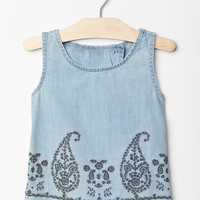 Gap Girls Paisley Tulip Back Chambray Tank