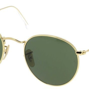 Sunglasses Ray-Ban RB3447 ROUND METAL 001 GOLD/LENS GREEN Cal.50