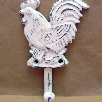 Rooster Shabby Chic Classic White White Cast Iron Wall Coat Towel Pet Leash Hook Rustic French Country Kitchen Bathroom Hook