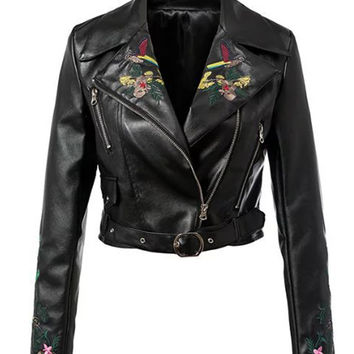 Black Lapel Embroidery Floral Leather Look Biker Jacket