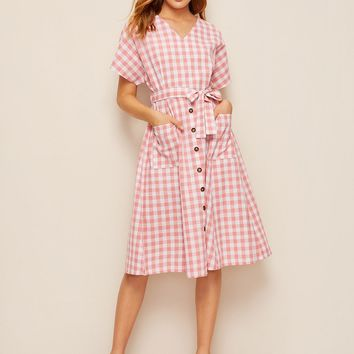 Self Tie Pocket Gingham Dress