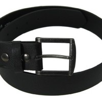 Nice Shades Genuine Leather Black Plain Leather Belt Big Tall Detachable Buckle