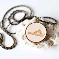 Laser Engrave Wood Necklace - Virginia with Heart