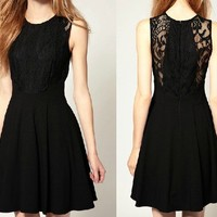 [grxjy560041]Classical Elegant Sleeveless Black Lace Dress