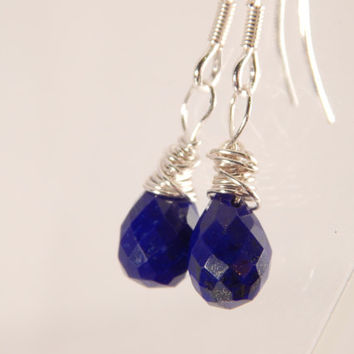 Lapiz Lazuli and Sterling Silver Dangle Earrings