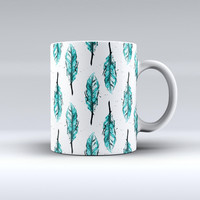 The Splattered Teal Watercolor Feathers ink-Fuzed Ceramic Coffee Mug