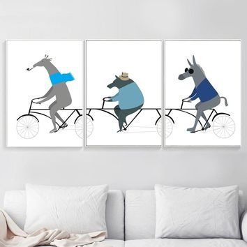 Cartoon Animals Bear Horse Deer Cycling Nordic Poster Wall Art Canvas Painting Decoration Pictures For Baby Girl Boy Room Decor