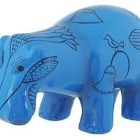 Hippopotamus Blue Egyptian Mini Sculpture with Papyrus Details 3.25L