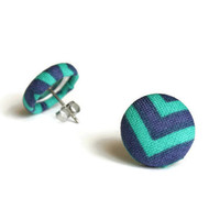 Blue Green Earrings, Chevron Blue Green, Chevron Jewelry, Button Earrings, Fabric Earrings, Chevron Earrings, Blue Green, Fabric Jewelry