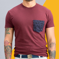Navy Floral Print Pocket on Burgundy Tee