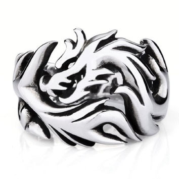 Moon Wings Vintage Men's Ring Round Dragon Stainless Steel Ring Size 12
