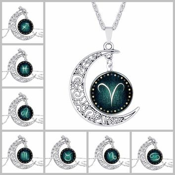 2017 Time Gem Jewelry Necklace for women antique silver color new design zodiac jewelry Valentine's Day gift constellation