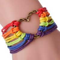 Rainbow Flag Pride LGBT Charm Heart Braided Bracelet Gay Lesbian Love Bracelets