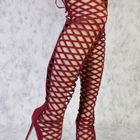 Wine Thigh High Cut Out High Heel Booties Nubuck