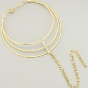 *[N/L]-Wire-Caged Choker with Fringe Pendant Necklace