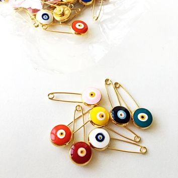 BIG SALE Lucky evil eye safety pin, protection for baby, gold plated evil eye pins, baby boy gift pin