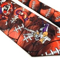 Vintage NFL Football Tie, 1993 Warner Bros. Looney Tunes, Handmade Surrey Necktie, Bugs Bunny, Yosemite Sam, Taz, Daffy Duck Cartoon Novelty