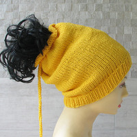 Cotton Dread Hat Dredlocks Accessories  Yellow Dreadlock tube hat, dreadlock headband, Tam Hat wide dread wrap, Dreadband handmade