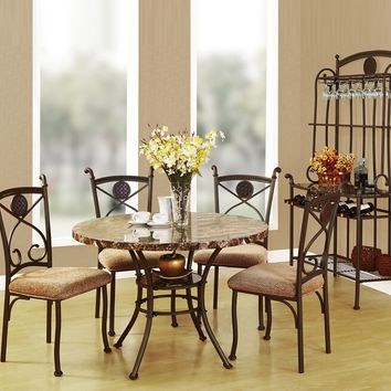 Acme 70555 5 pc kleef round faux marble top and metal frame table set