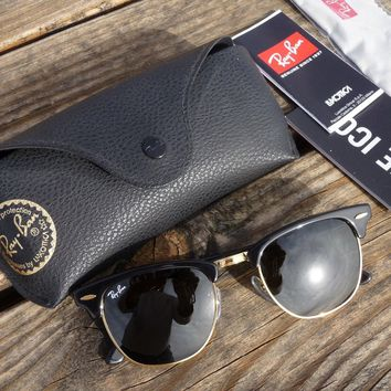New Authentic Ray-Ban RB3016 Black Gold Clubmaster Sunglasses on Price is Right
