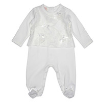 Baby Biscotti Footie in Ivory with Overlay