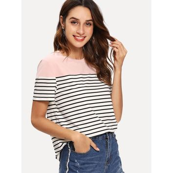 Cut and Sew Striped Ringer Tee