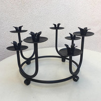 Vintage Modern black metal circle Candle stand candleholder with 8 cups
