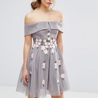 New Look Premium Floral Mesh Bardot Skater Dress at asos.com