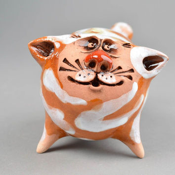 Ceramic figurine homemade home decor cat decor gifts for cat lovers
