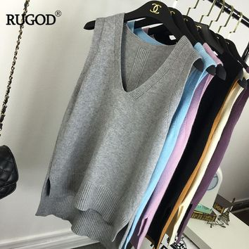 RUGOD 2018 New Arrival Straight V-Neck Pullover Women Knitted Sweater Solid Office Lady Fashion And Casual Female Simple Vest
