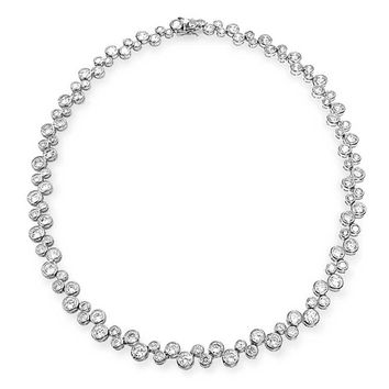 Bridal Zig Zag Geometric Bubble Bezel Statement AAA CZ Tennis Necklace