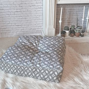 Heather Dutton Starbust Grey Floor Pillow Square
