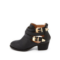 DOUBLE BUCKLE CUTOUT ANKLE BOOTIE